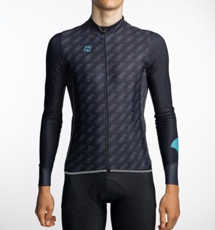 Maillot ciclista invierno hombre MORGET BLUE delante